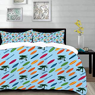 """bedding - Duvet Cover Set,Surfboard,Exotic Hawaii Vacation Palm Trees and Colorful Boards Water Sports Fun A,Hypoallergenic Microfibre Duvet Cover Set Queen/Full 90""""x90"""" with 2 Pillowcase 20"""" x 26"""""""