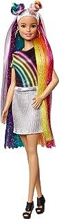 دمية Barbie Rainbow Sparkle Hair بشعر أشقر بألوان قوس القزح وجل برّاق ومشط وإكسسوارت لتسريح الشعر