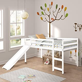 Harper&Bright Designs Twin Loft Bed with Slide for Kids/Toddlers, Wood Low Sturdy Loft Bed, No Box Spring Needed, White