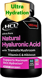 Natural Hyaluronic Acid Supplement 5X Stronger Hydration Pills from Pure Tremella Mushroom with Vitamin C & Hibiscus - Ant...
