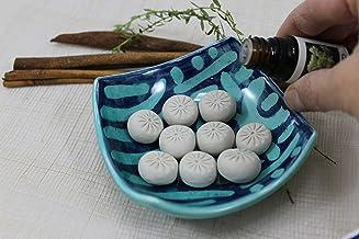 Diffusore di oli essenziali in ceramica handmade dipinto a manocolore verde acqua e blu