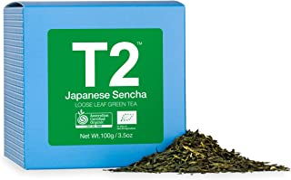T2 Tea Organic Green Tea, Japanese Sencha Loose Leaf Green Tea in Gift Cube 100 g, 100 g