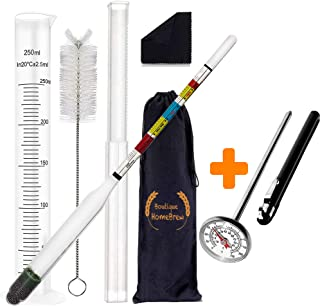 "Hydrometer and Test Jar for Wine, Beer, Mead and Kombucha | Combo Set of Triple Scale Alcohol Hydrometer | 250ml Plastic Cylinder, Cleaning Brush, Cloth, Storage Bag | 1"" Dial Thermometer for HomeBrew"