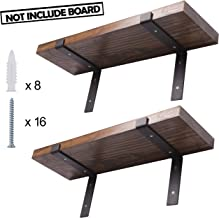 Heavy Duty Floating Shelf Lip Bracket Black J Wall Hook Solid Steel 4 Pack Rustic Decorative Bracket for Wood Boards Study Bedroom Kitchen (7.25