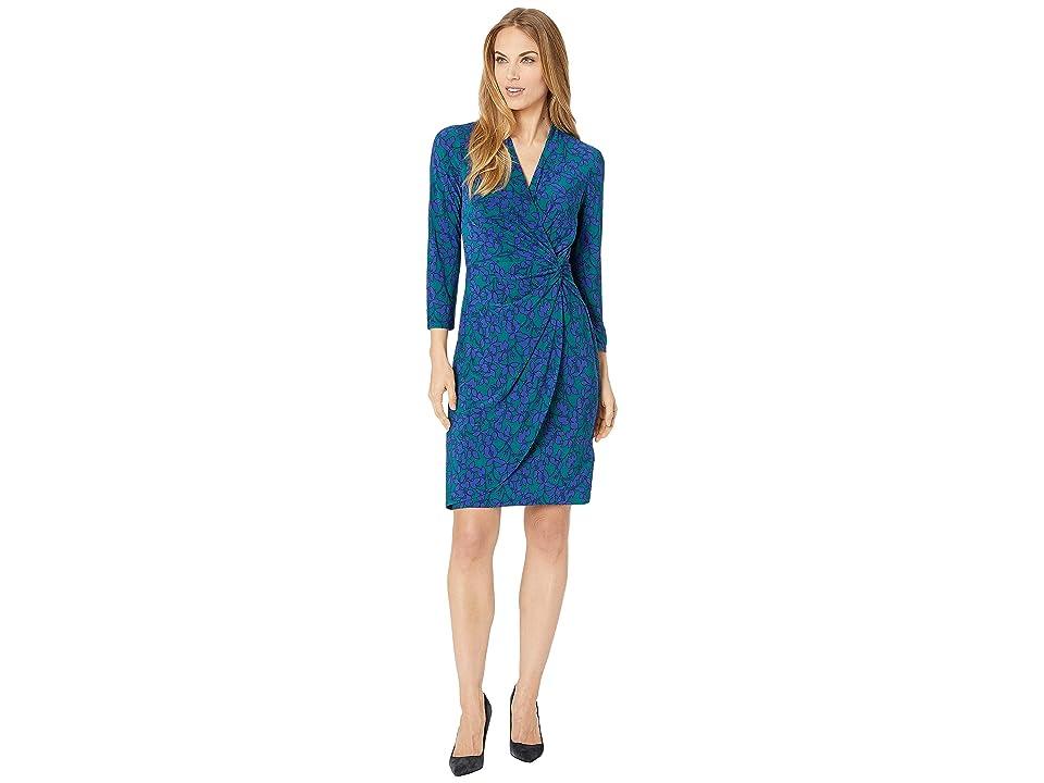 CHAPS Open Neckline Twist Front Floral Jersey Dress (Enchanted Green/Hydrangea/Multi) Women
