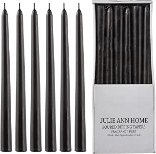 Unscented Black Taper Candles for Home – 10 Inch Tall Clean Burning Candlesticks | Perfect for Weddings, Parties, Home Déc...