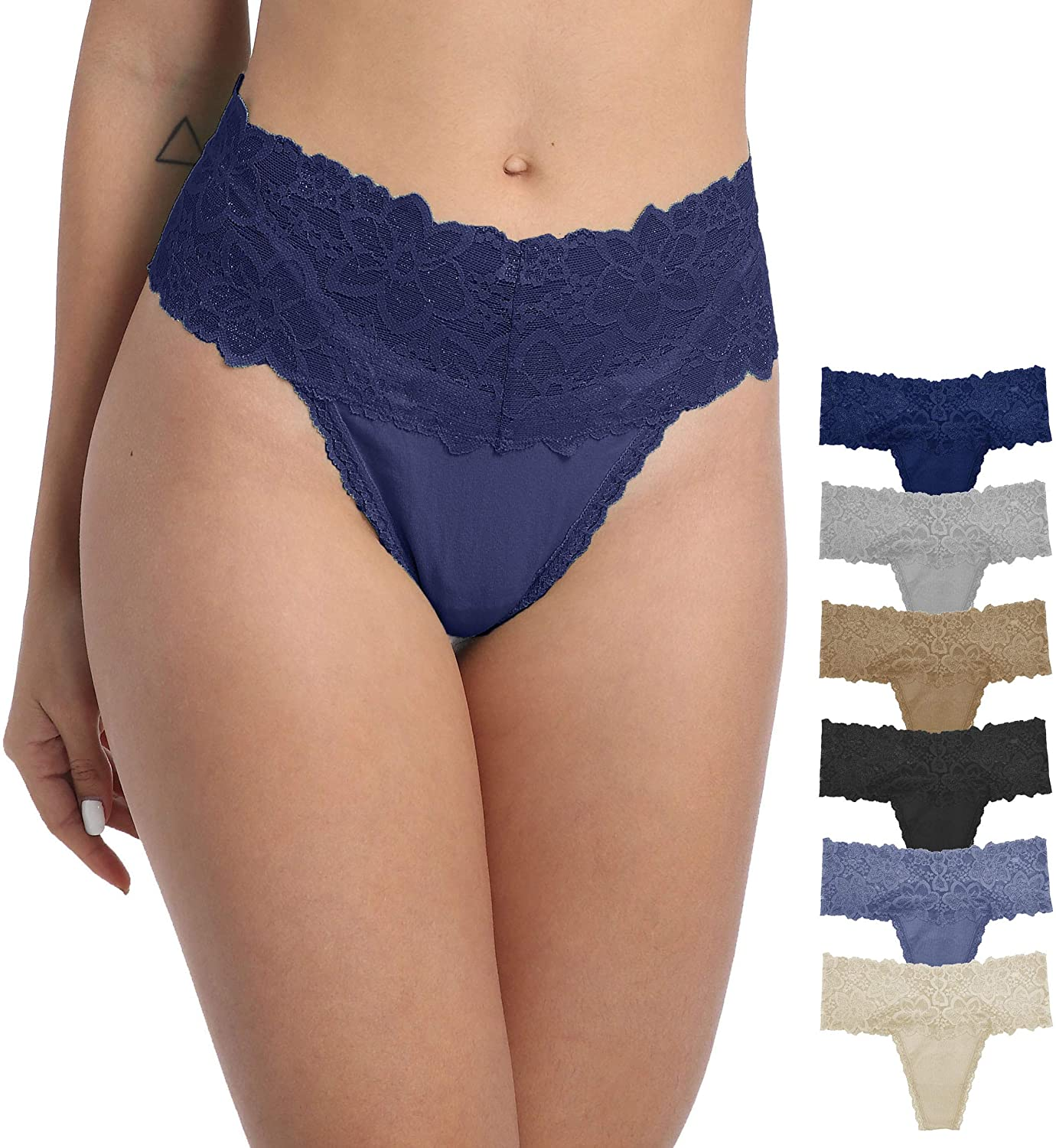 WKFIINM Pack of 6 Tangas Sexy for Max 87% OFF Thongs Women Denver Mall Hig Cotton Retro