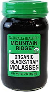 MOUNTAIN RIDGE Naturally Healthy USDA Organic Blackstrap Molasses, 16 Fl Oz Glass Mason Jar