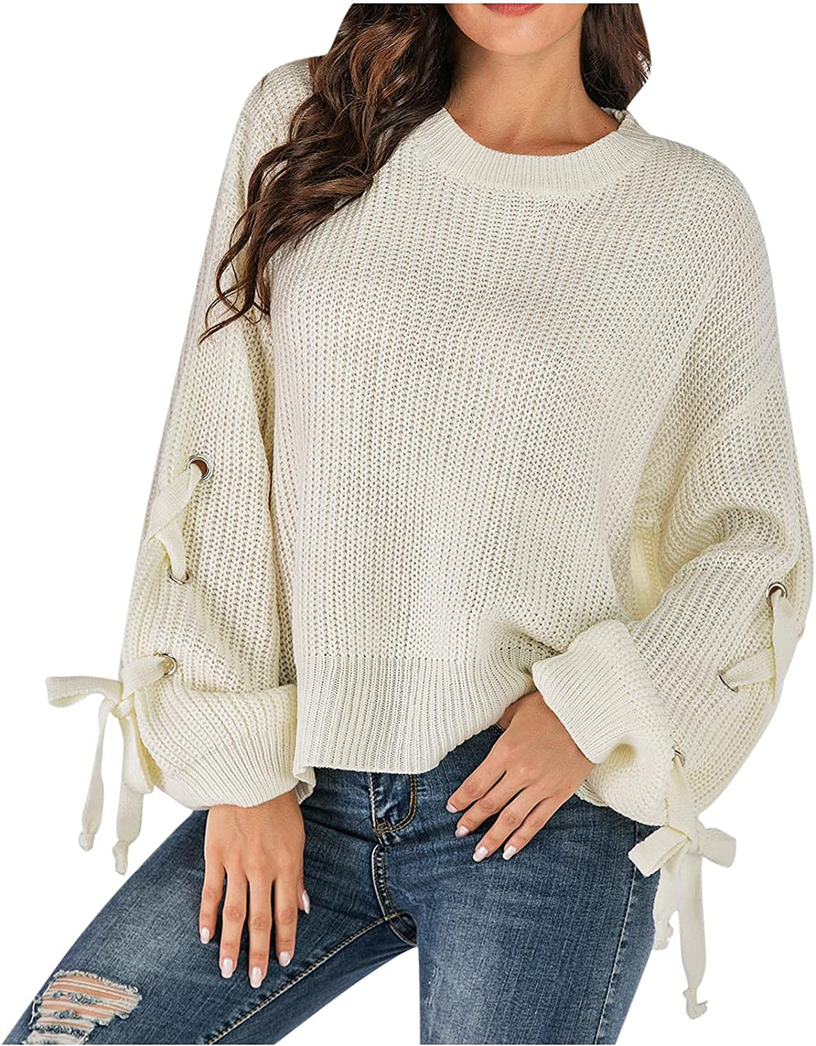 Women's Pullover New Free Shipping Sweater Casual Fashion Sle Knitted Long Topics on TV Lace up