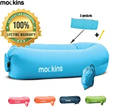 Mockins Inflatable Lounger Air Sofa Perfect for Beach Chair Camping Chairs or Portable Hammock and Includes Travel Bag Pouch and Pockets | Easy to Use Camping Accessories -Blue Color