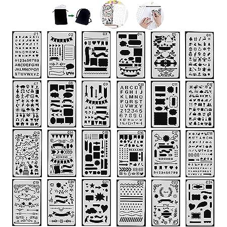 Tian Pochoirs Peinture Kit avec Sac de Toile Exquis -24pcs 7.0 x 4.1 Inches Plastique Pochoir Stencil Dessin Peinture Set pour Bullet Journal / Planner / Portable / Agenda / Scrapbooking