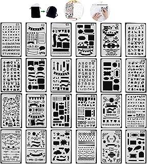 Tian Plantillas Pintura Set - 24pcs A5 Plastico Plantillas Dibujo Stencil Bullet Journal para Scrapbooking Planner con Bolsa de Lona Exquisita