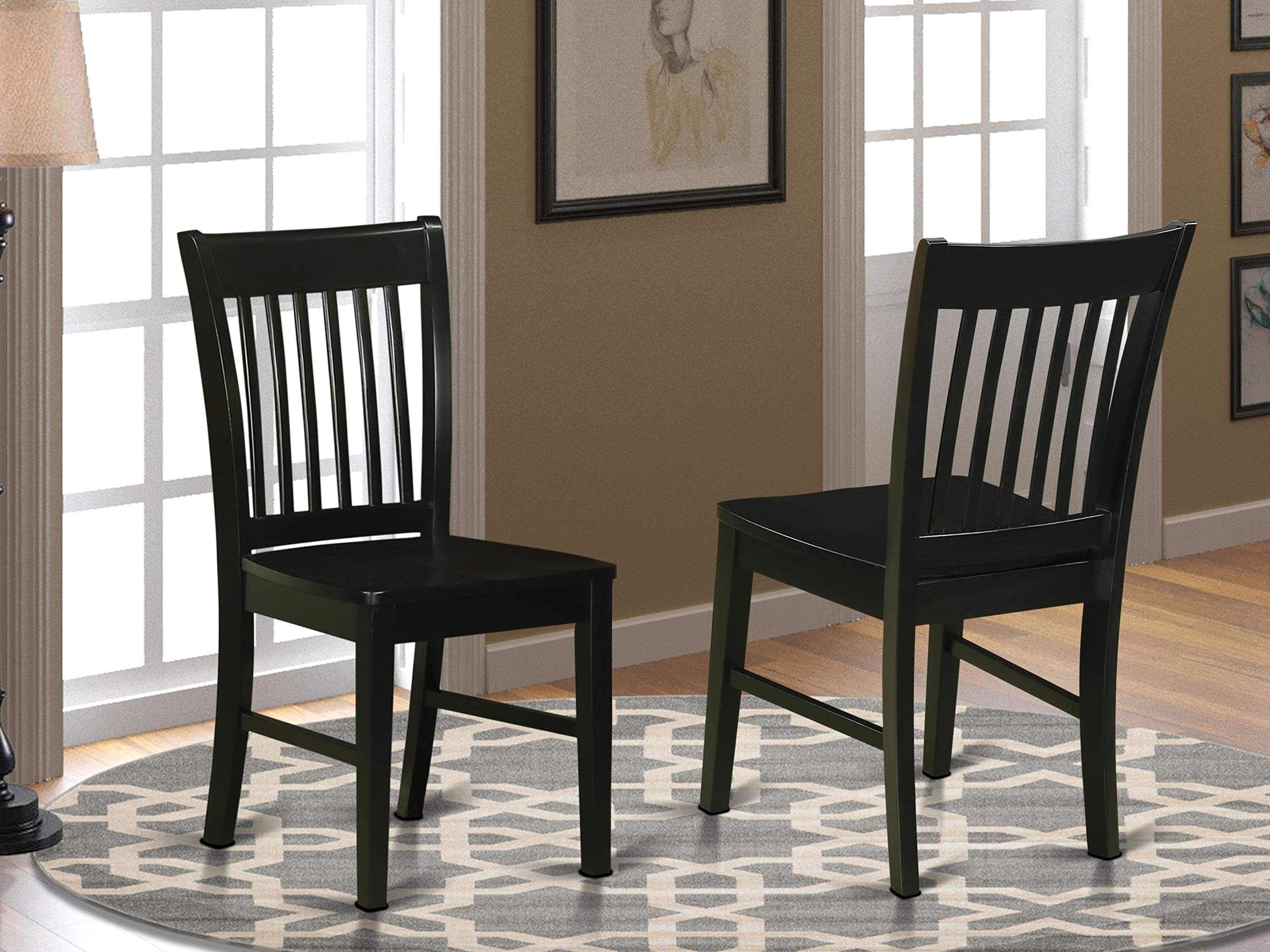 East West Furniture Norfolk kitchen chairs - Wooden Seat and Black Solid  wood Structure wooden dining chair set of 10
