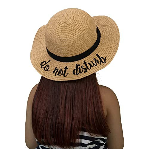 c4f2e0f16a657 Funky Junque Girls Sun Hat Bold Cursive Embroidered Adjustable Beach Floppy