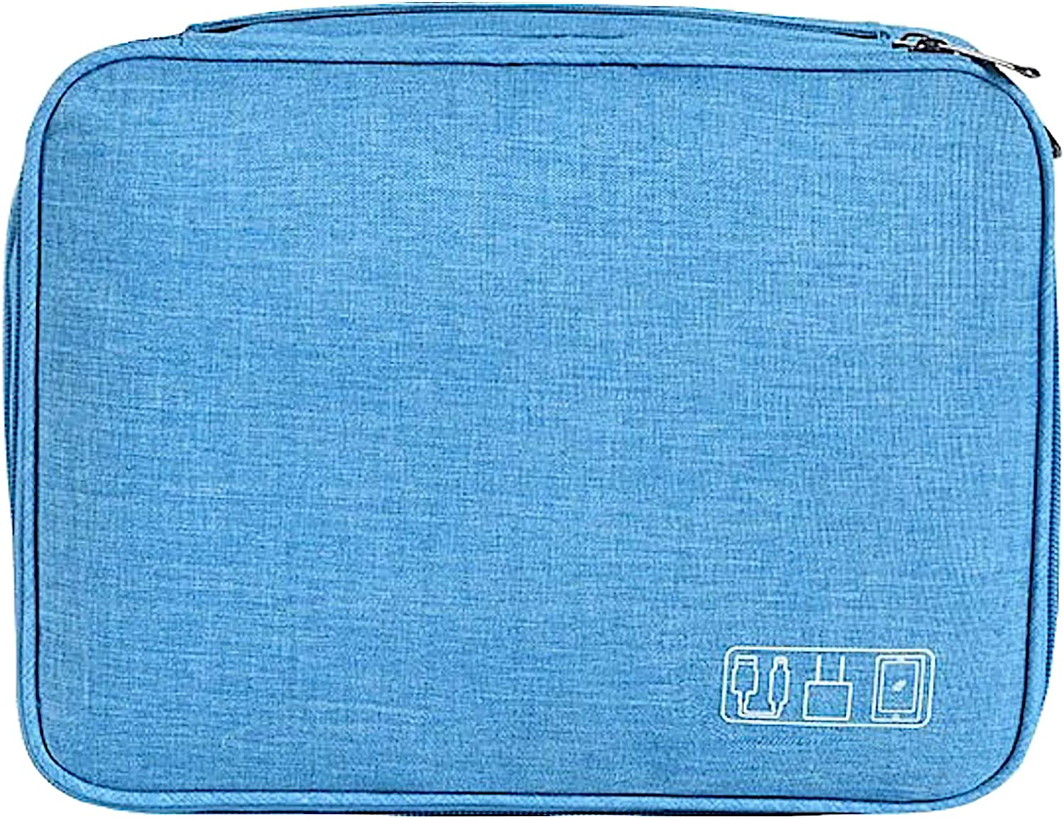 Electronics Organizer, Yanz Electronic Accessories Double Layer Travel Cable Organizer Cord Storage Bag for Cables, iPad Mini,Power Bank, USB Flash Drive and More Light Blue