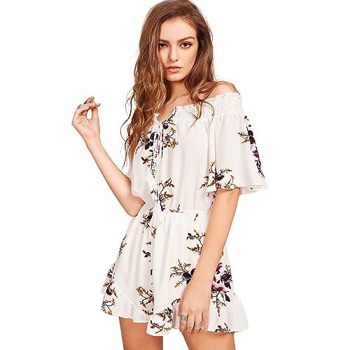 7f2b22e467 SheIn Women's Boho Off Shoulder Floral Print Tie Front Jumpsuit Rompers