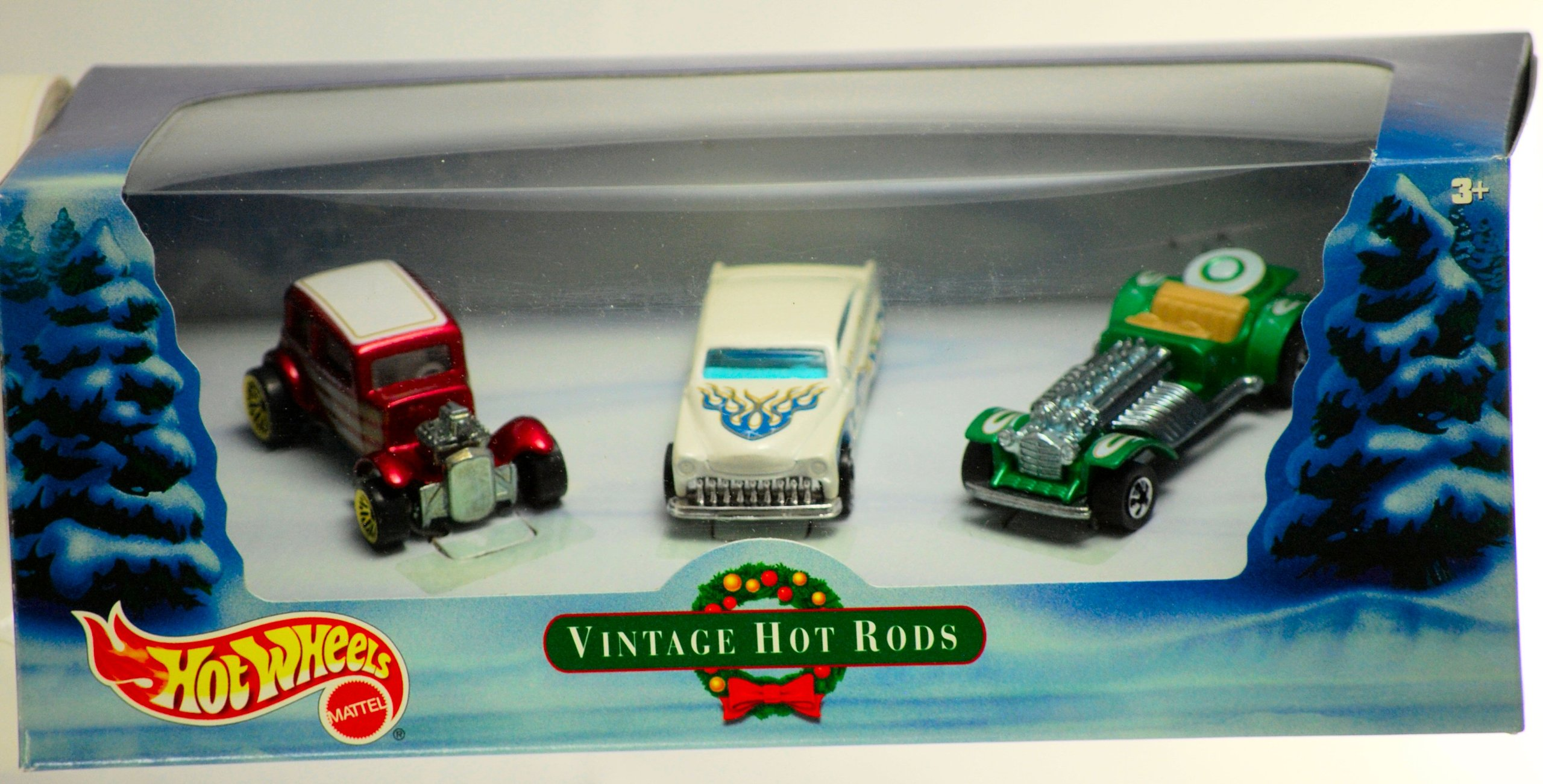 Hot Wheels 2000 - Mattel Vintage Hot Rods - Holiday Set - Ford Vicky / Purple Passion / Sweet 16 - Box & Cars Mint - New - Collectible - Out of Production