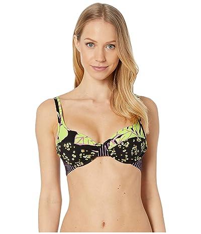 Maaji Shellina Throwback D-Cup Bikini Top (Artemis Lime Floral) Women
