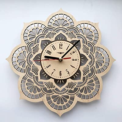 Amazon Com Flower Mandala Wall Clock Eco Wood Unique Gifts Ideas Original Presents Home Decor And Wall Art Design For Living Room Kitchen Bedroom Kids Silent Quartz Movement And Autonomous