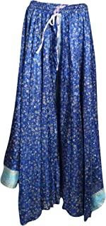 Mogul Interior Womens Blue Maxi Skirt Floral Print Boho Chic Full Flare Gypsy Long Skirt M/L