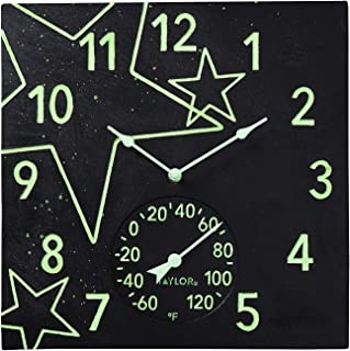 """Taylor Precision Products 14""""x14"""" Midnight Stars Glow in The Dark Poly Resin Clock with Thermometer"""