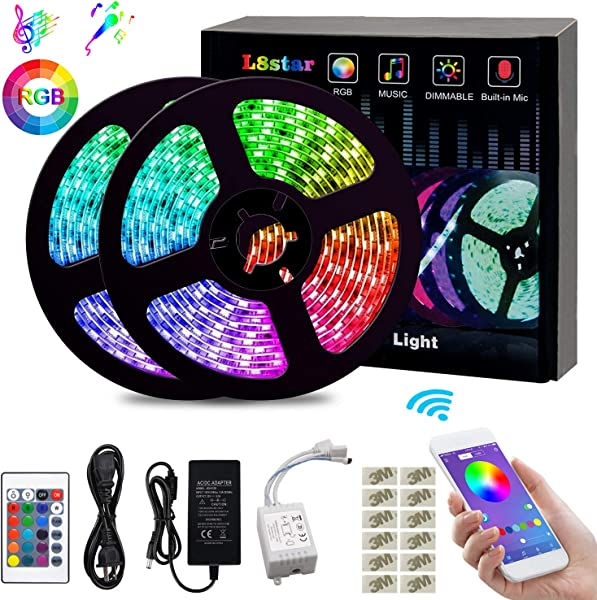 L8star LED Color Changing Rope 32 8ft 10m SMD 5050 RGB Light Strips With Bluetooth Controller Sync To Music Apply For TV Bedroom Party And Home Decoration White