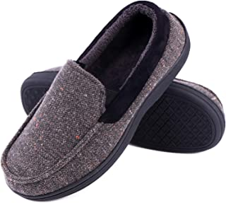 b3eb4e22b069 LongBay Men s Memory Foam Moccasin Slippers Plush Fleece House Shoes in  Indoor Outdoor Loafer Style