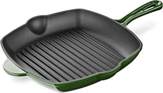 Navaris Cast Iron Griddle Pan - Enamelled Cast Iron Grill Pan for Frying and Grilling Meat and Veg - Square Grilling Skill...