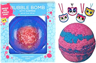 Kitty Bubble Bath Bomb for Girls with Surprise Kids Cat Necklace Inside by Two Sisters Spa. Large 99% Natural Fizzy in Gift Box. Moisturizes Dry Sensitive Skin. Releases Color, Scent, Bubbles.