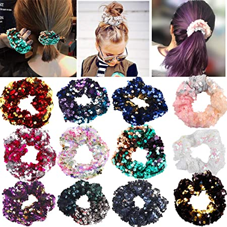 Sparkle Storm Soft Hair Ties Velour Hair Ties Gentle Hair Ties Ponytail Holders Gift for Her Hair Accessories Set of Hair Ties