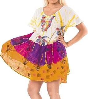 LA LEELA Damen Blusenkleid Strandkleid Tie Dye Loose Fit Dress