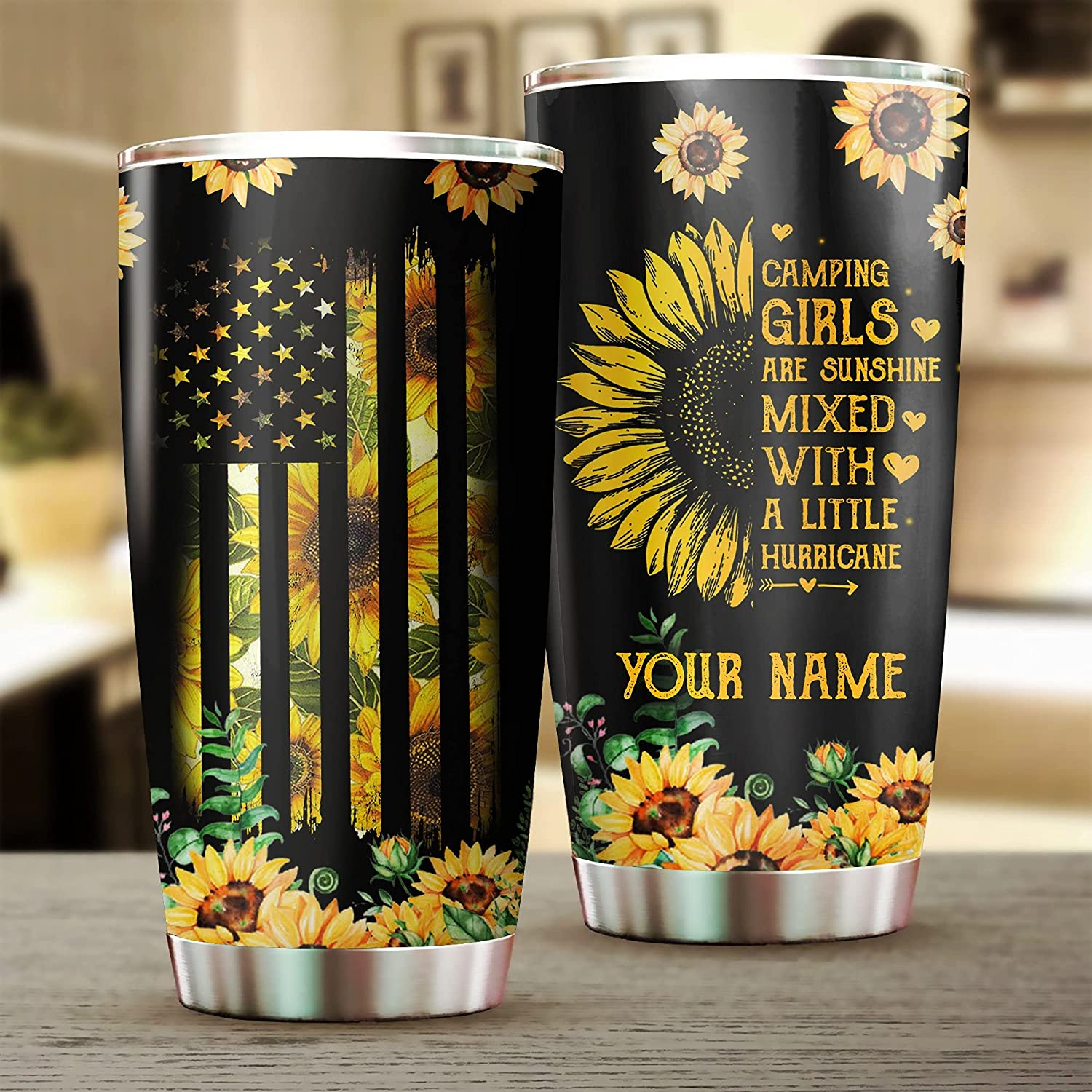 Personalized Sunflower Tumbler American Bargain Flag Girls Wholesale with Lid for