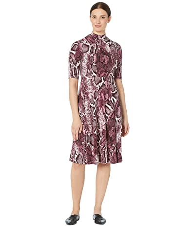 Donna Morgan Mock Neck Snake Skin Print Matte Jersey Dress (Raspberry) Women