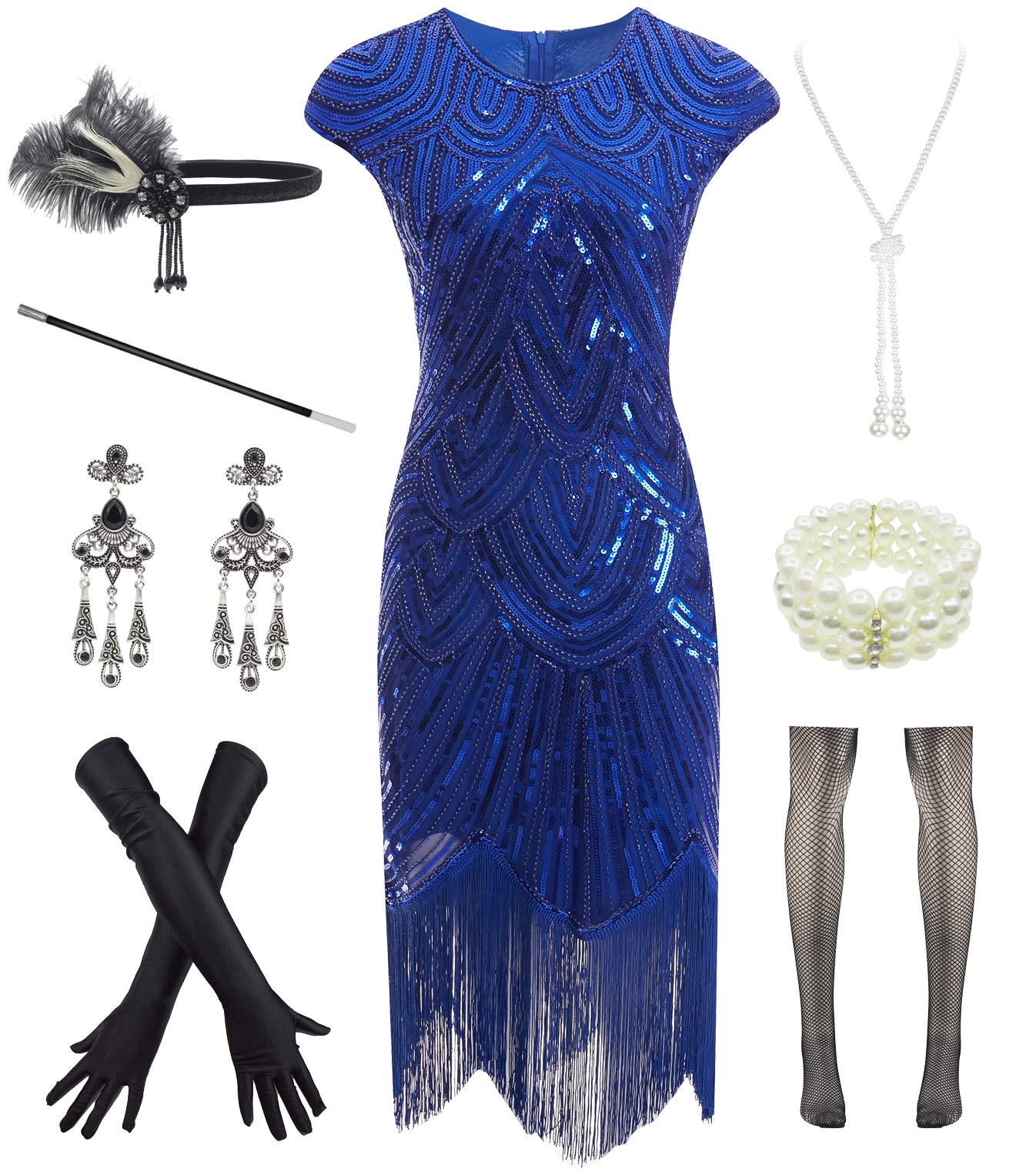 Available at Amazon: Women 1920s Vintage Flapper Fringe Beaded Gatsby Party Dress with 20s Accessories Set