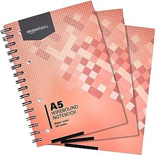 AmazonBasics Lot de 3cahiers à spirales 200pages 80g/m² Format A5