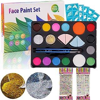 Gosear人体面部彩绘颜料套装包括14种颜色2个闪光2个画笔4个海绵2张丙烯酸贴纸,用于Cosplay派对化妆