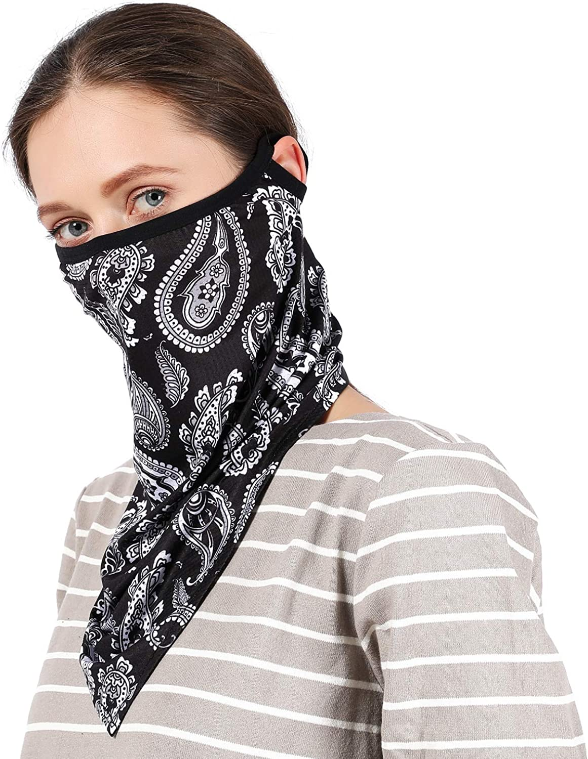 REACH STAR Fishing Face Shield Breathable Summer Balaclava Neck Gaiter Triangle Scarf Women UV Protection Cooling Full Face Cover Bandana for Cycling Outdoor Running (RS-SJJ-2)