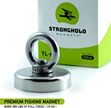 Powerful Fishing Magnet by Stronghold Magnets   255 lbs - 2.36 inch Diameter   Super Strong Rare Earth Neodymium with Strong Eyebolt   Superior Magnetics to Recover Lost Treasures
