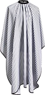"SMARTHAIR Professional Salon Cape Polyester Haircut Apron Hair Cut Cape,57""x66.8"",Black and White Stripes,C250023B-L"