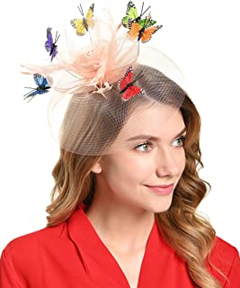 Tea Party Hat for Women Fascinators Kentucky Derby Wedding Hair Clip Headpiece with Butterfly