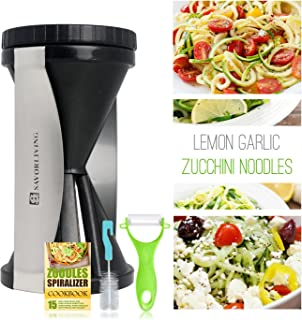 SAVORLIVING Spiralizer Vegetable Spiral Slicer and Peeler Bundle, 2-in-1 Veggie Cutter Zucchini Noodle Pasta Maker for Healthy Spaghetti Zoodles, Best Kitchen Spiralizers Julienne Vegetables