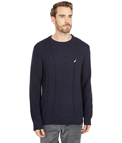 Nautica Classic Fit Cable Knit Sweater (Navy) Men