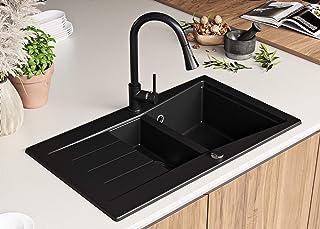 Granitspüle mit Siphon Madrid Einbauspüle Spülbecken Schwarz Küchenspüle Unterschrank Küche ab 60cm Antibakteriell Spüle aus Granit mit Ablaufgarnitur Drehexcenter und Überlauf von Primagran