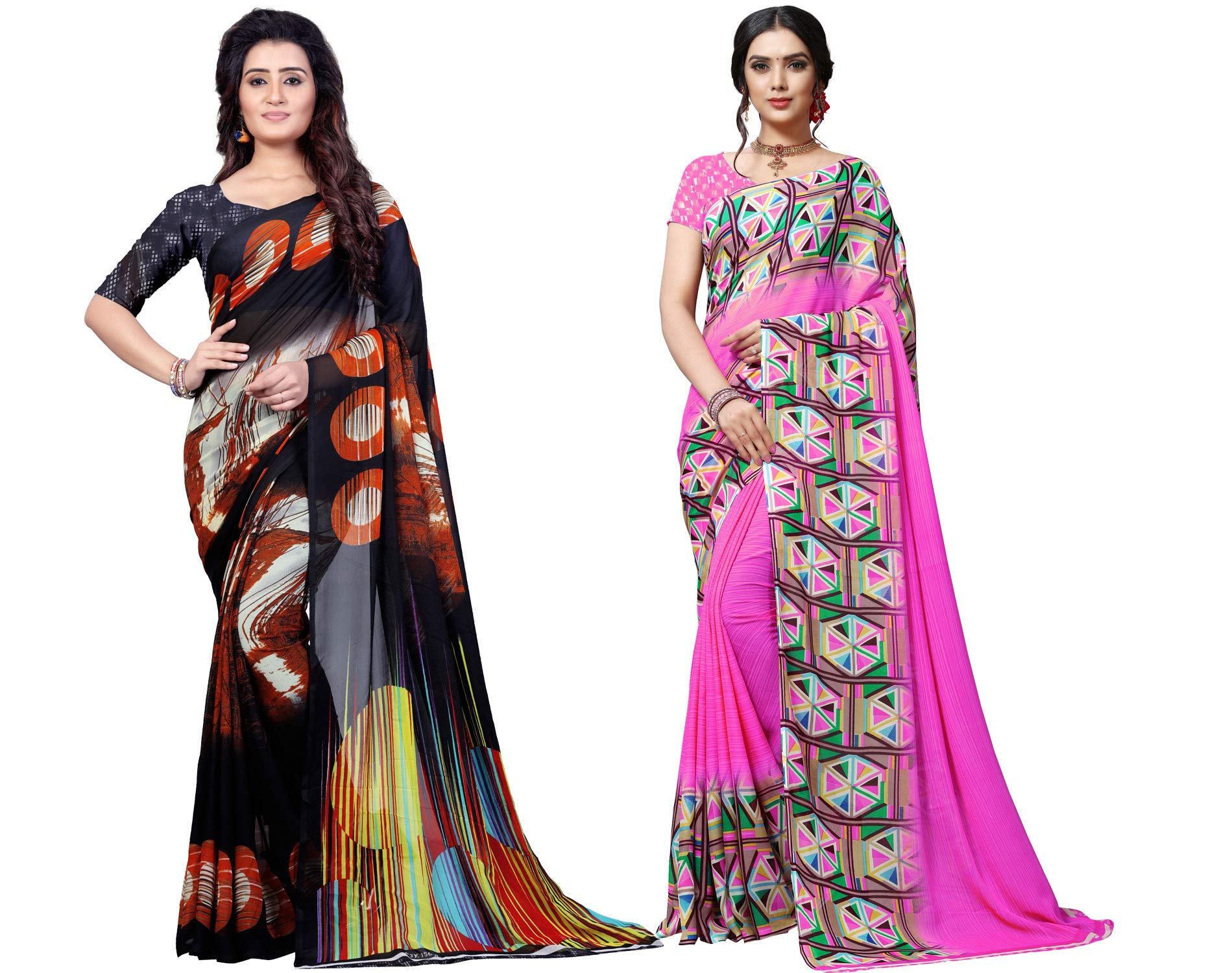 Set of 2 Georgette Sarees with Blouse Piece