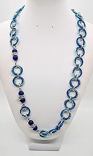 Collana in alluminio color blu e azzurro con pietra agata blu handmade made in italy idea regalo donna gioiello artigianal...