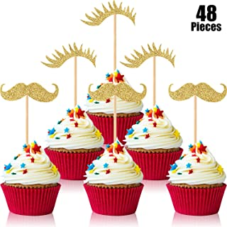 48 Pieces Staches or Lashes Cupcake Toppers Glitter Lashes Toppers Moustaches Cake Toppers for Gender Reveal Baby Shower Party Supplies
