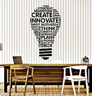 Vinyl Wall Decal Lightbulb Inspire Words Business Office Art Decor Stickers Mural Large Decor (ig5071) Black