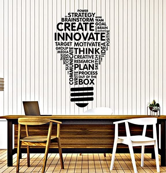 Vinyl Wall Decal Lightbulb Inspire Words Business Office Art Decor Stickers Mural Large Decor Ig5071 Black