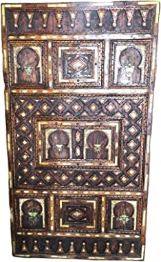 Vintage Ornately Hand Carved Moroccan Wood Front Door - Inlaid Bone, Silver Fibula