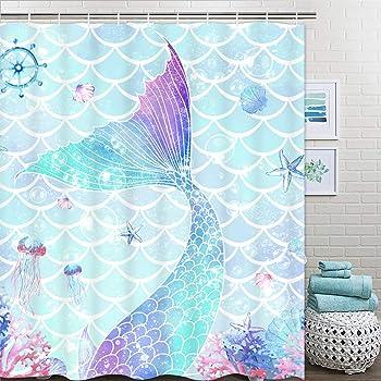 Pknoclan シャワーカーテン 可愛い人魚姫 海底 175 x 178cm バスカーテン 防水防カビ 風呂カーテン シンプル おしゃれ お風呂用カーテン 目隠し 遮像 プライバシー保護 速乾 清潔感 取付簡単 お手入れ簡単 フック付き